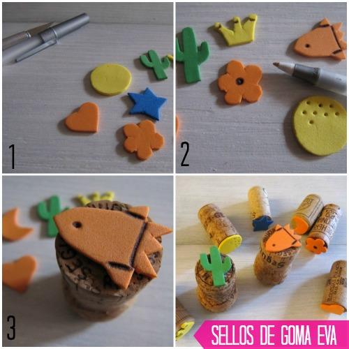 Paso a paso DIY sellos con goma eva y tapones de corcho
