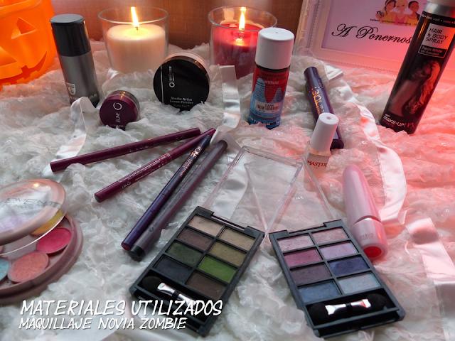 Maquillaje halloween novia zombie Oriflame materiales