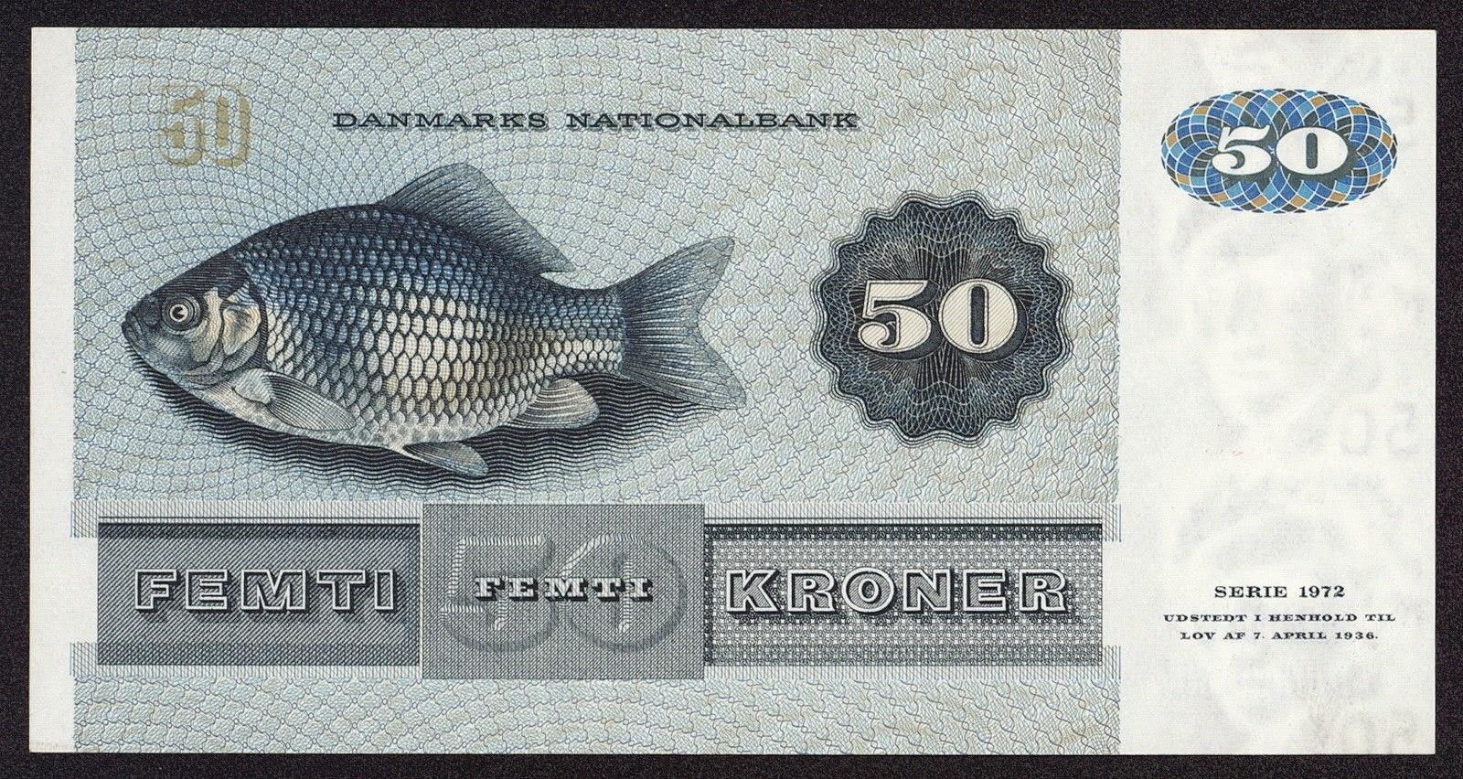 50 Danish Kroner note 1972 Crucian carp