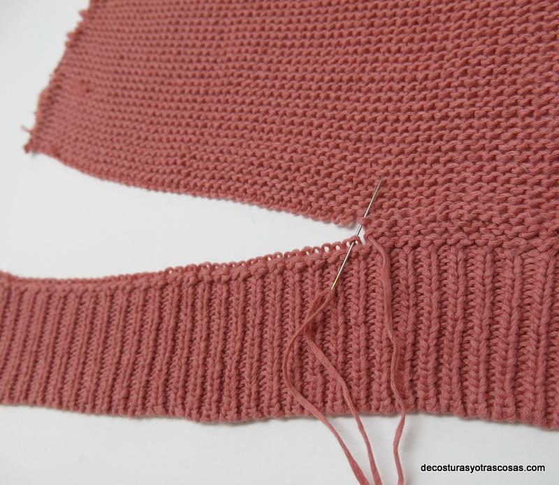 unir con hebras de lana y puntos invisibles