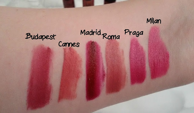 Labiales Nyx swatches soft matte