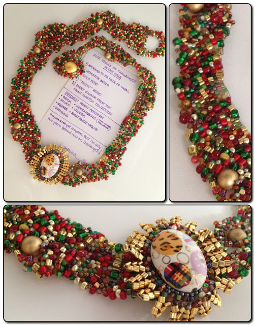 'Five Years of Challenges' freeform beaded necklace by Patricia Hardway
