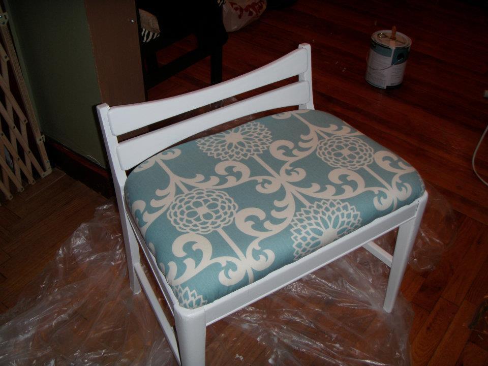 Ashley DIY: Reupholstered Vanity Stool