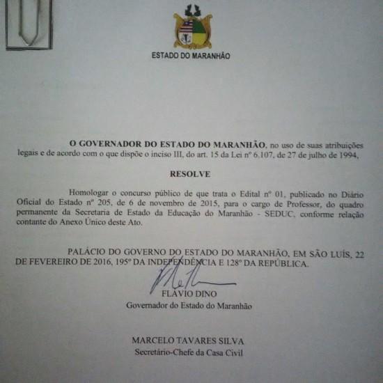 Blog do c cero ferraz governador fl vio dino homologa for Concurso para profesores 2016