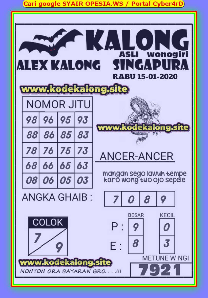 Kode syair Singapore Rabu 15 Januari 2020 78