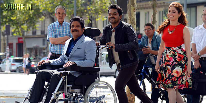 Nagarjuna plays a quadriplegic in Oopiri, Karthi makes his debut in telugu and Oopiri is released as Thozha in Tamil. hot Tamanna in Oopiri, Thozha,