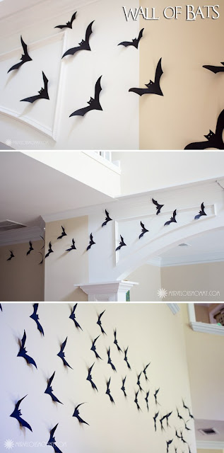 DIY cardstock wall of Halloween bats!