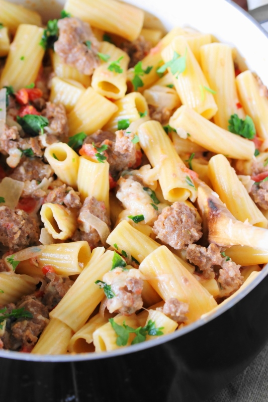 Pasta in Creamy Sausage Sauce - The Kitchen is My Playground