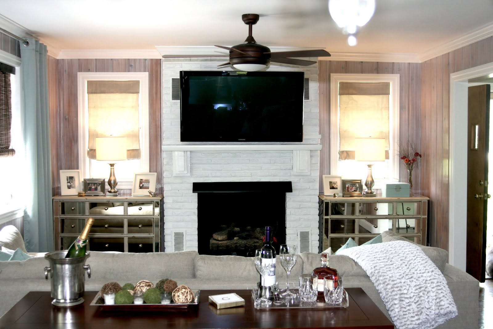 White Wash Wood Fireplace