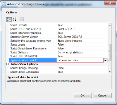 Sql server database script example