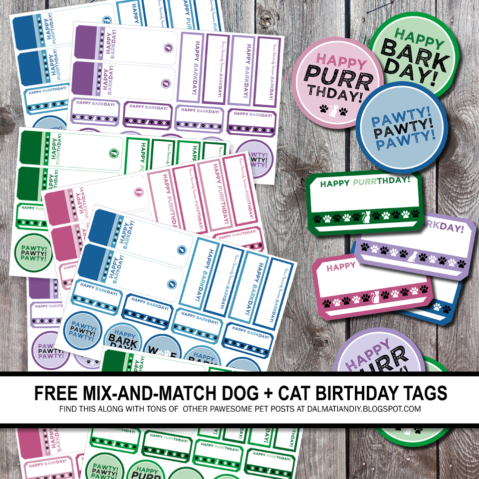 picture relating to Free Printable Birthday Labels identified as Absolutely free Printable Puppy Birthday Puppy and Cat Tags and Labels