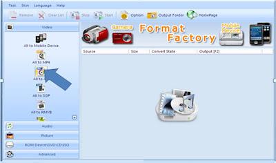 Memilih  Format Factory