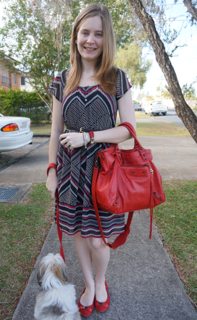 Away From Blue Jeanswest gemoetric print mia dress red accessories