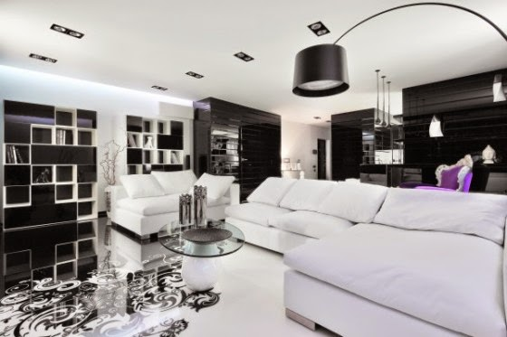 In Designing The Room Of Apartment Highlights Artwork On Floor As Well Type Lighting Shelving Black Color Does Not Obscure Or
