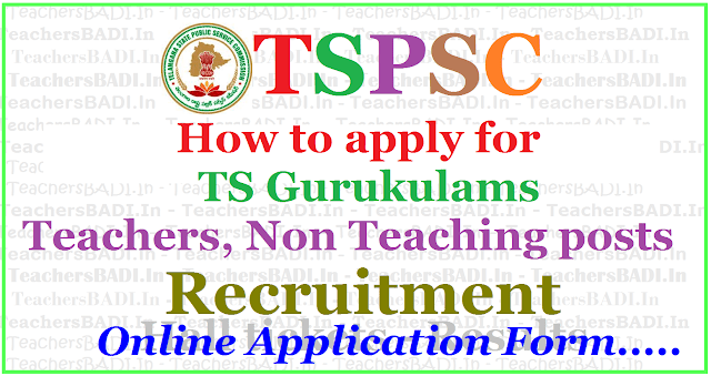 How to apply for Tspsc gurukulam Teachers,Non Teaching posts recruitment 2017