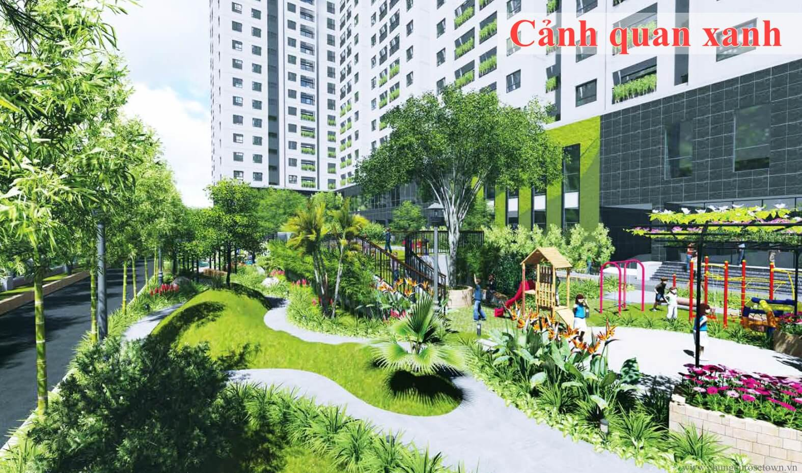 Cảnh quan xanh tại dự án chung cư Rose Town Ngọc Hồi