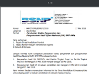 SE 0097/SDAR/BSNP/V/2018 Perubahan Waktu Penyerahan dan Pengumuman Hasil Ujian Nasional (UN) SMP/MTs