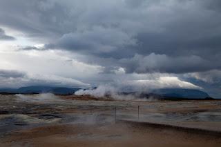 Smoky guysirs make up a rural Icelandic landscape