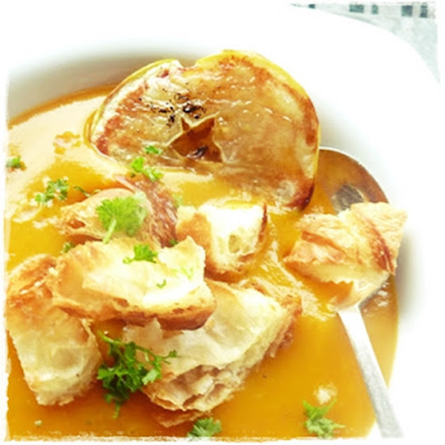 croissant croutons on pumpkin and apple soup