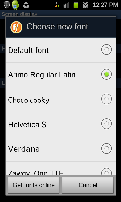 Samsung Galaxy S II: How to change the font type of Samsung Galaxy S II