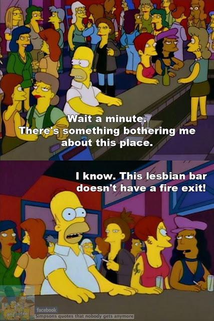 Homer in a lesbian bar