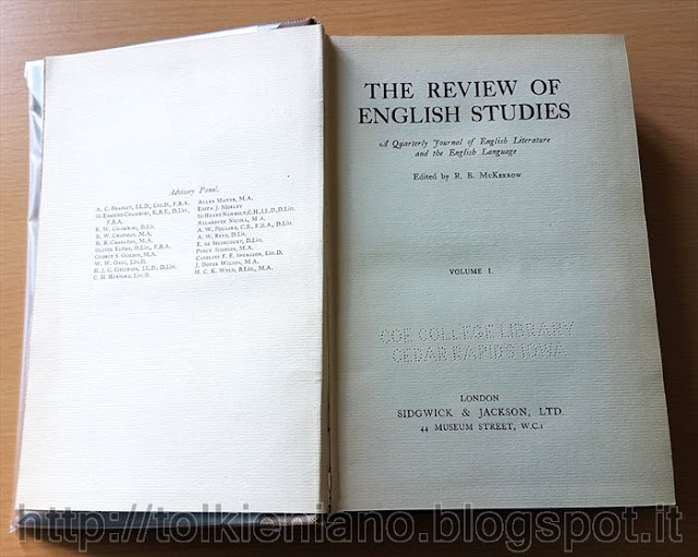 Due saggi accademici di Tolkien in The Review of English Studies, 1925
