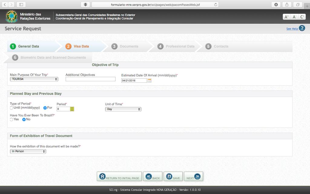 Pengalaman Mengurus Visa Brazil di Jakarta - Form Aplikasi Online Visa Data