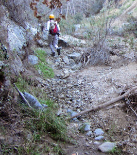 BEFORE - Trail damage on Fish Canyon Trail, Angeles National Forest