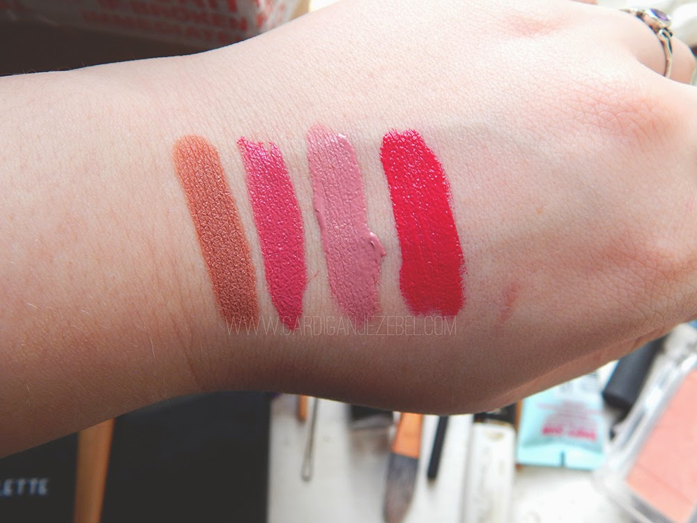 nude pastel bright pink lipstick swatches