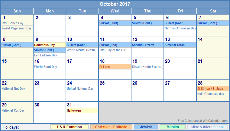 2017 Calendar with Holidays [US, UK, Canada, Australia]