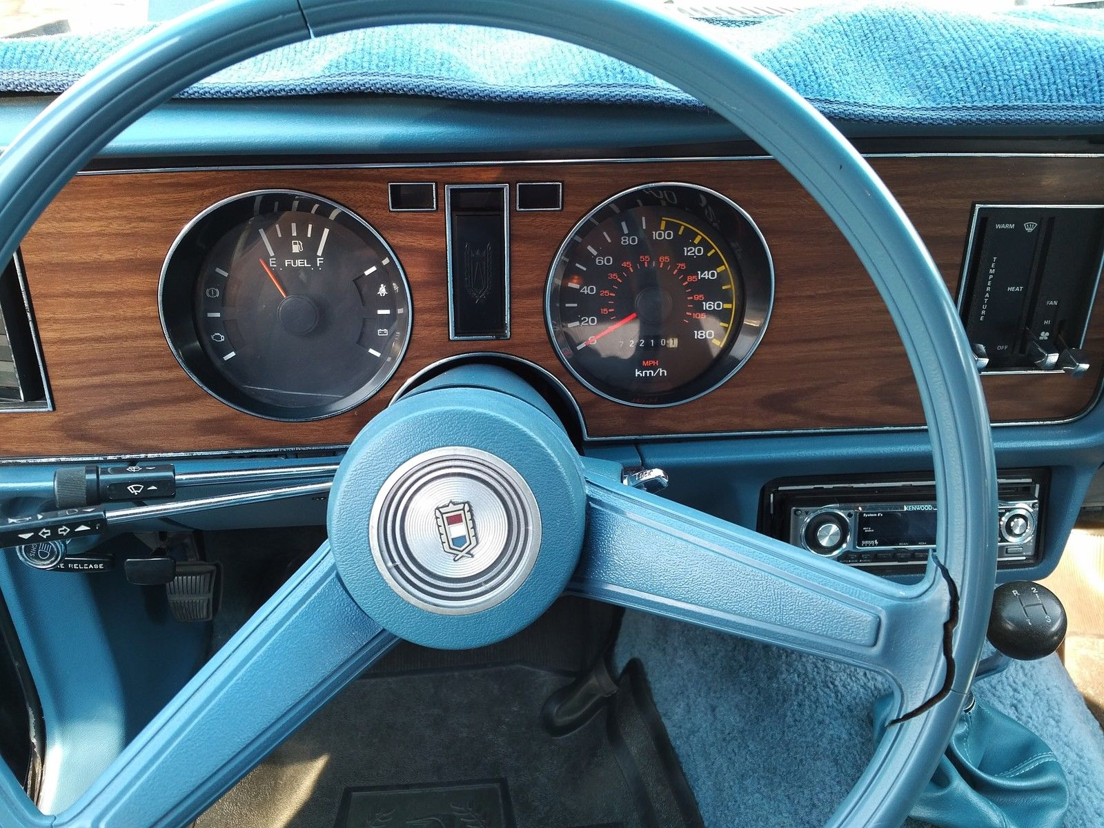 Heres that fancy blue two spoke steering wheel note that it has some cracks when viewed up close