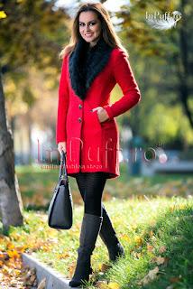 palton dama elegant rosu cu blana la guler de iarna