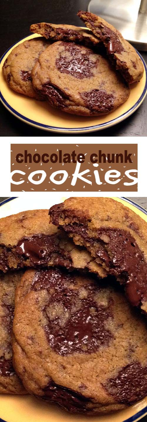 Chewy Chocolate Chunk Cookies. Best eaten shortly after baking while the middle is gooey with chocolate.