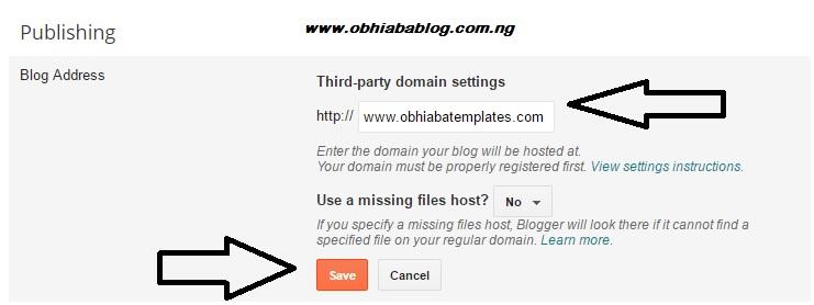 .com domain on blogspot