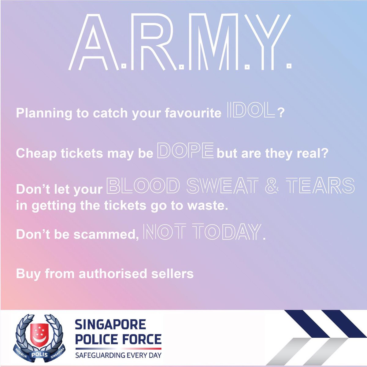 Use The Titles of BTS songs, This Unique Appeals From Singapore Police For BTS Concerts Become Highlighted