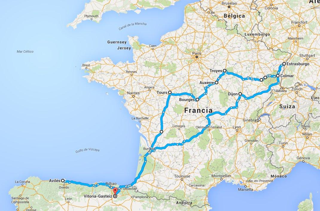 Diario de viaje en coche destino Alsacia
