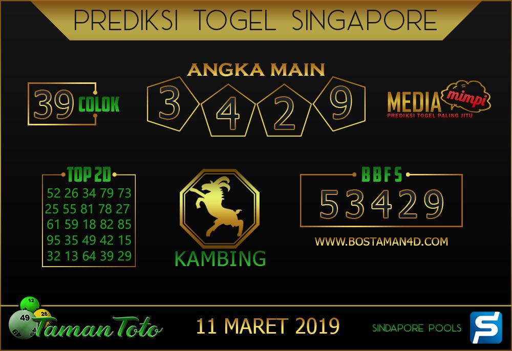 Prediksi Togel SINGAPORE TAMAN TOTO 11 MARET 2019