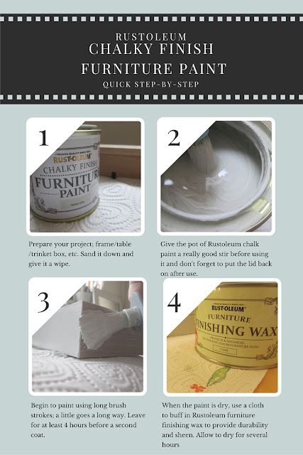 step by step how to instructions on using Rustoleum chalky finish furniture paint and wax