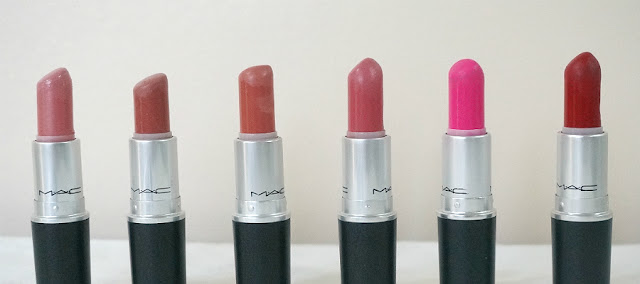 MAC Lipstick in Angel, Velvet Teddy, Kinda Sexy, Please Me, Candy Yum-Yum, and Ruby Woo