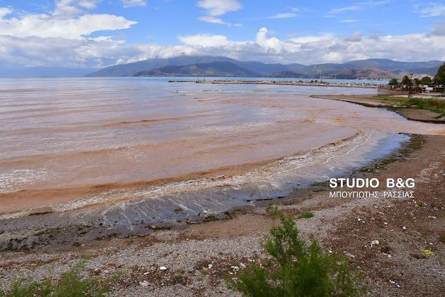 Μεγάλες ποσότητες λάσπης κατεβάζουν τα ποτάμια στον Αργολικό κόλπο (βίντεο)