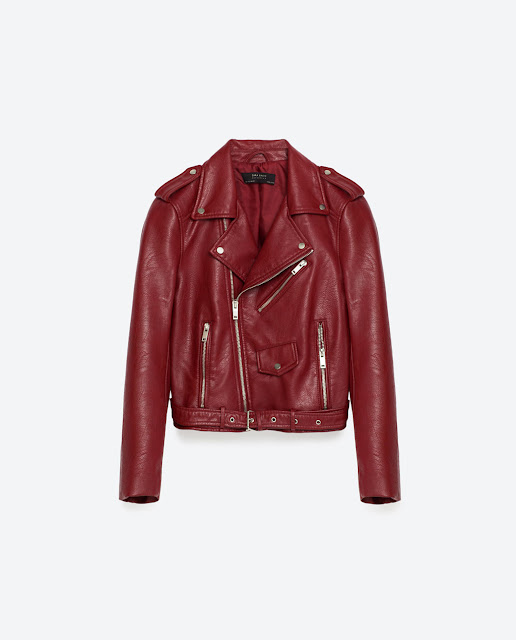 zara red faux leather jacket
