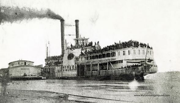 Union troops aboard steamer at Helena