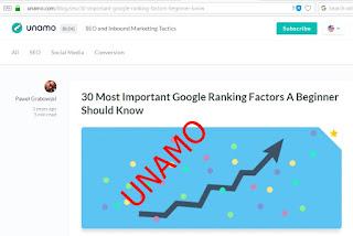 faktor page one google unamo