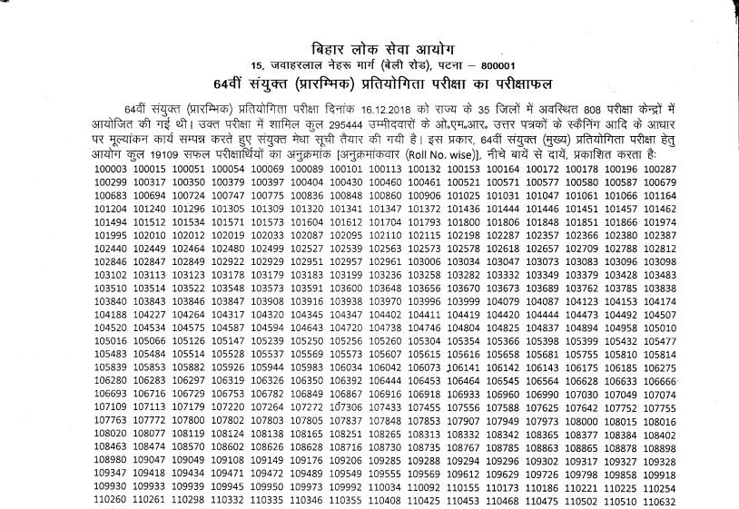 Bihar (BPSC) 64th Prelims Result 2018-19 Declared Check
