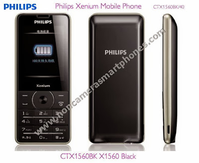 Philips X1560 Dual Sim Non Camera Phone With GPRS Internet Front Back Side Black Images Photos Review