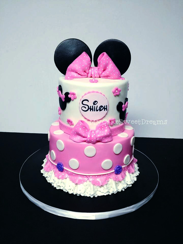 Cool Cakesbyzana Minnie Mouse 1St Birthday Cake Personalised Birthday Cards Veneteletsinfo