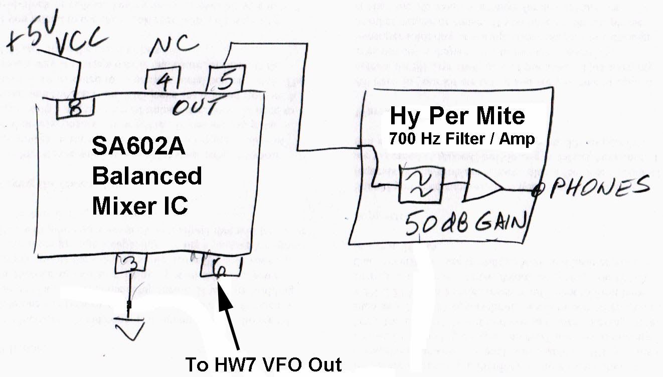 Kr7ws Ham Radio Blog Onetube Transmitter Schematic Diagrams And Circuit Descriptions This Sketch Shows The Mixer Output Hy Per Mite Audio Filter Amp Pin 6 Is External Signal Input From Hw7s Vfo