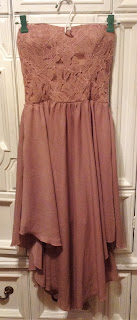 strapless mauve dress