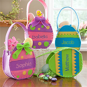 15 of the best personalized easter baskets and gift ideas embroidered easter egg mini treat bags this is a great easter basket for babies and toddlers negle Image collections