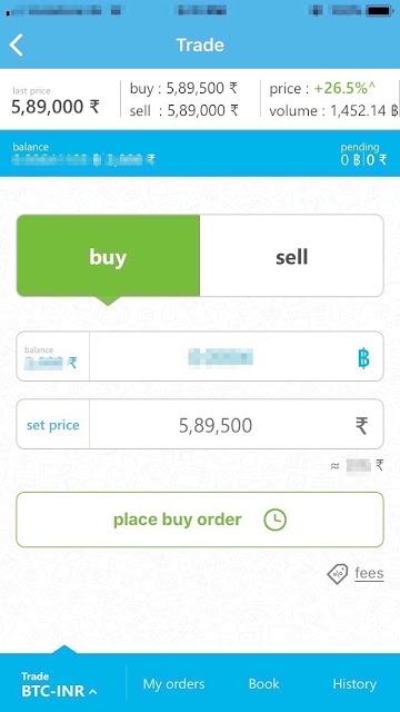 How to make buy order at Zebpay?